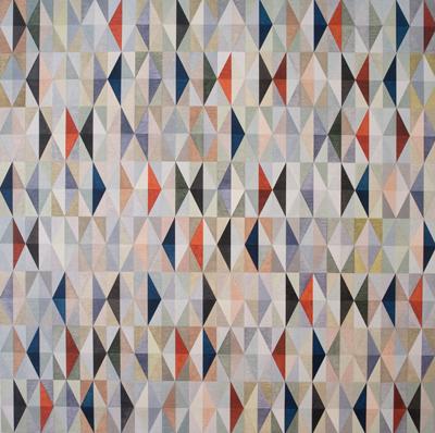 Schilderij met driehoeken en facetten in allerlei kleuren
